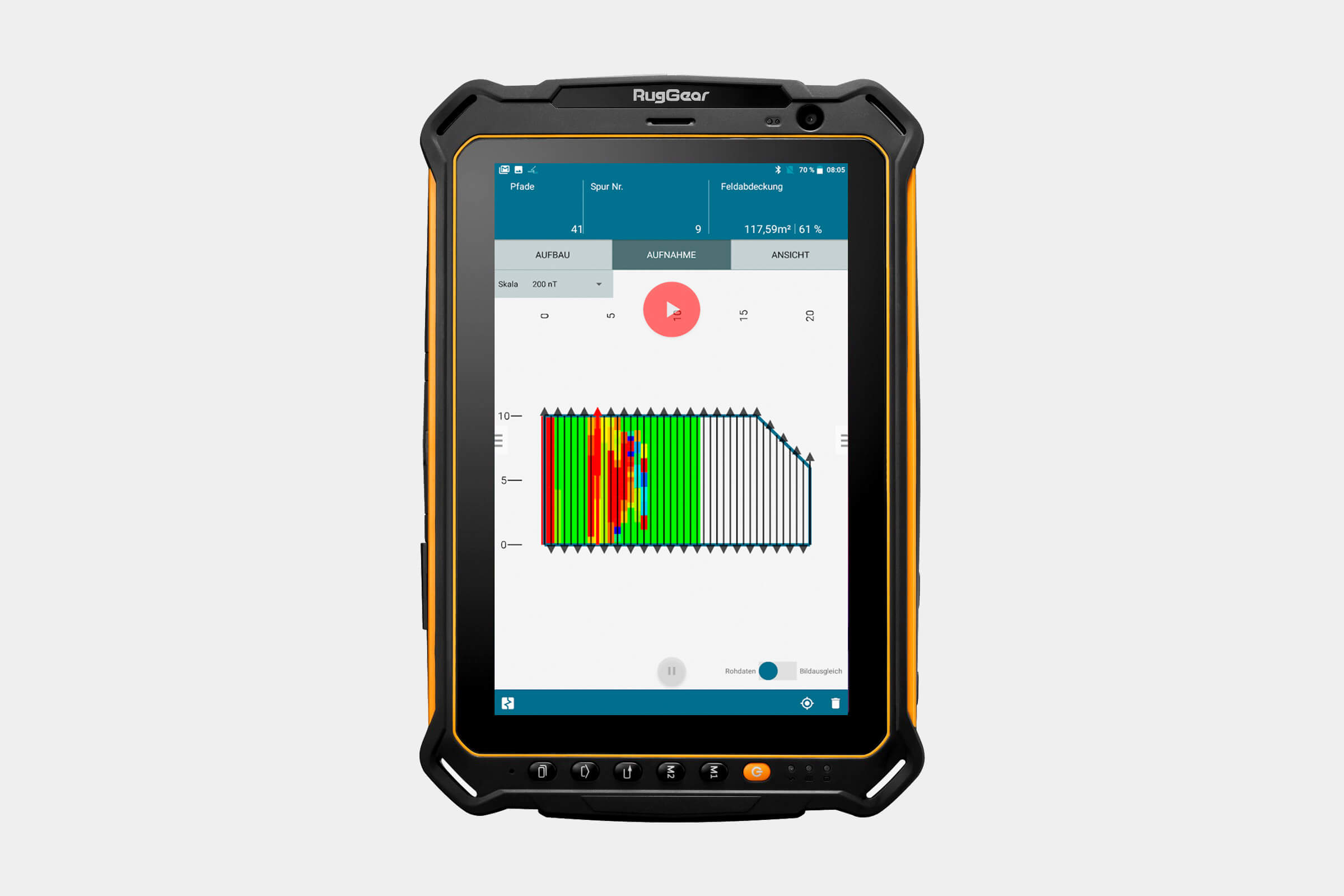 Data acquisition of freely customizable field configurations as well as direct magnetic field display in color, also with GNSS